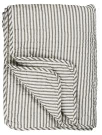 Ib Laursen - Quilt - sprei - wit met rustiek bruin streepje