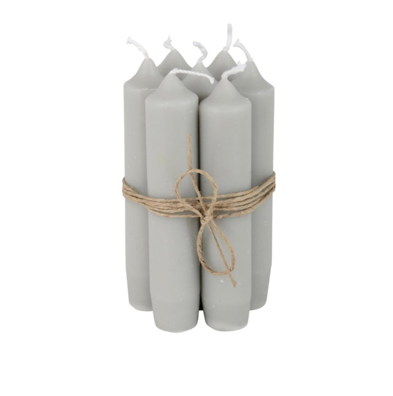 Ib Laursen - korte diner kaarsen - 7 stuks - grijs