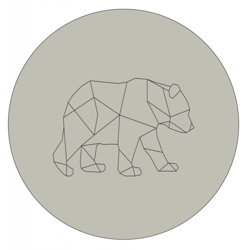 Labelr - Muurcirkel - Geometrische vorm beer - Groen blauw