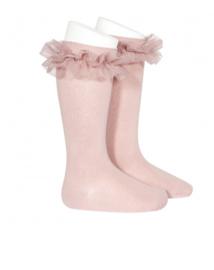 Knee socks pink ruffle