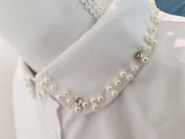 SPECIALS kraagje wit met pareltjes en strass