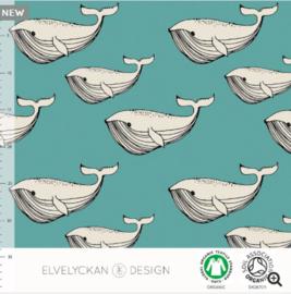 Stof • Elvelyckan Design • whale - aqua (jersey)