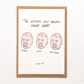 "Studio Flash • kaart ""the ultimate new parents cheat sheet"""