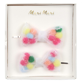 Meri Meri • hair slides net bow pompom