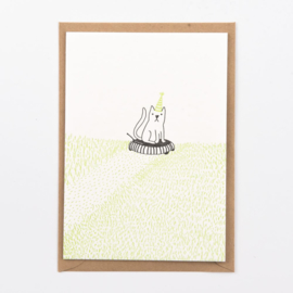 """Studio Flash • kaart """"cat on a grass machine robot"""""""