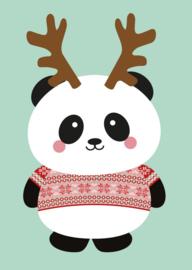 """Studio Inktvis • kerstkaart """"panda gewei"""""""