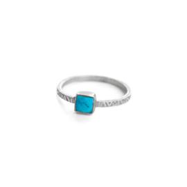 Muja Juma • ring maat 56 vierkant turkoois | zilver (4010)