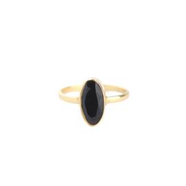 Muja Juma • ring maat 58 grote ovaal zwart graniet | verguld (2008)