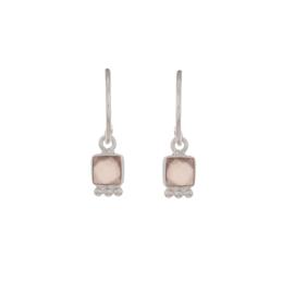 Muja Juma • oorbellen vierkant perzik maansteen | zilver (1256)