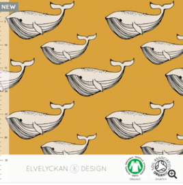Stof • Elvelyckan Design • whale - gold (jersey)