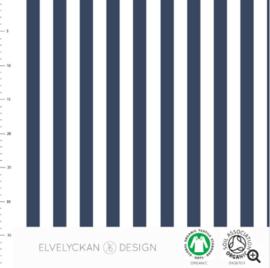 Stof • Elvelyckan Design • vertical stripes - dark blue & white (jersey)