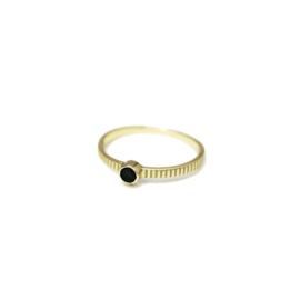 Muja Juma • ring maat 54 3mm ronde granaat met 1 stip | verguld (4057)