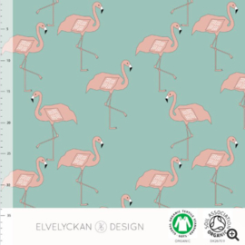 Stof • Elvelyckan Design • flamingo - dusty mint (jersey)