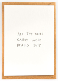 "Studio Flash • kaart ""all the other cards are really shit"""