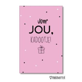 ZZZ Sint • MIEKinvorm • minikaart 'voor jou, kadootje' Sint