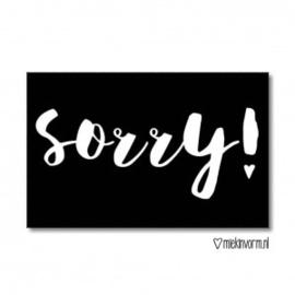"""MIEKinvorm • kaart """"sorry"""""""