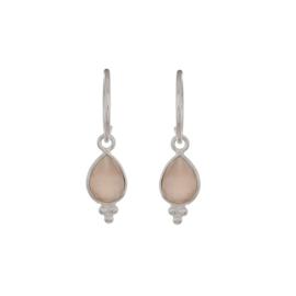 Muja Juma • oorbellen druppel 3 puntjes perzik maansteen | zilver (744)