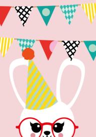 """Studio Inktvis • kaart """"uitnodiging konijn birthday"""""""