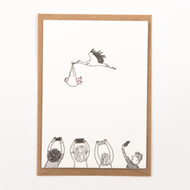 "Studio Flash • kaart ""stork with baby"""