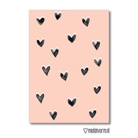 """MIEKinvorm • kaart """"roze met hartjes"""""""