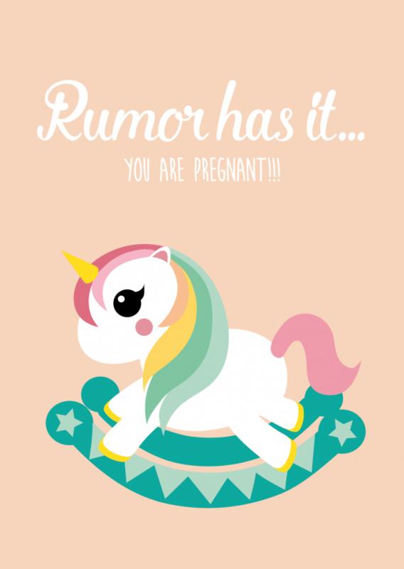 """Studio Inktvis • kaart """"rumor has it you are pregnant"""""""