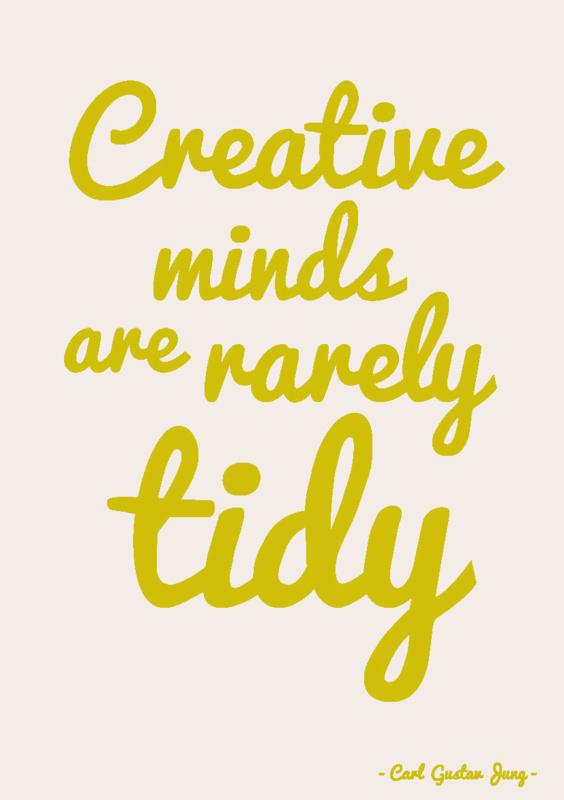 "Studio Inktvis • kaart ""creative minds are rarely tidy"""