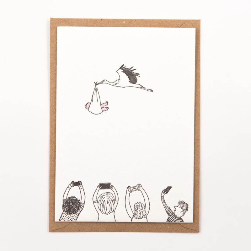 "Studio Flash • kaart ""stork with baby"""