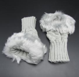 Dameshandschoenen met imitatiebont - grijs