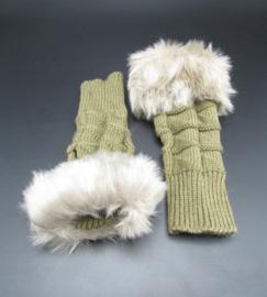 Dameshandschoenen met imitatiebont - kakikleur met grijs