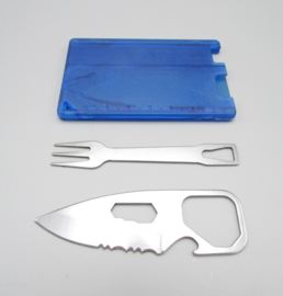 Aotu pocket knife & fork - credit card tool - blue