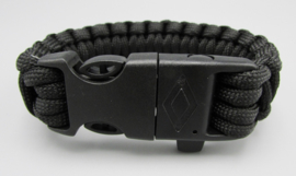 Survival-Tools - Para cord bracelet with whistle, scraper & magnesium stick - black