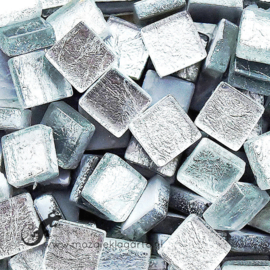 Glasmozaiek folie 1 x 1 cm per 50 gram Zilver 2339