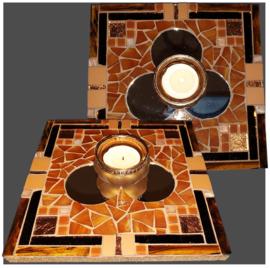 Mozaiek Spiegel/Waxinehouder Bruin 008