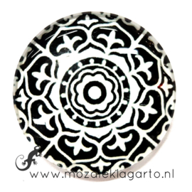 Cabochon/Plaksteen Glas 30 mm Mandala Zwart - Wit 22015