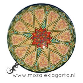 Cabochon/Plaksteen Glas 30 mm Mandala Groen - Rood - Geel 70008