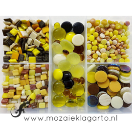 Glasmix in sorteerdoos 500 gram Mix Geel/Bruin 500-2