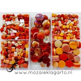 Glasmix in sorteerdoos 500 gram Mix Rood/Oranje 500-1