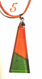 Handgemaakte glashanger Groen/Oranje