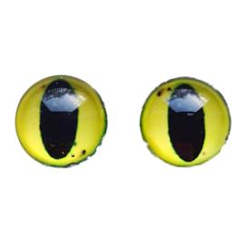 Cabochon/Plaksteen Oogjes 12 mm per 2 Geel 324-12