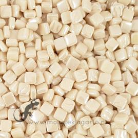 Mozaiek tegeltjes glas 8 x 8 mm Parelmoer per 50 gram Licht Crème 092