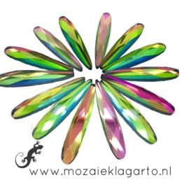 Glas facet geslepen druppel 6x30 mm per 8  Multicolor 911
