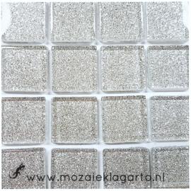Glitter 2x2 cm per 16 tegels Zilver 003