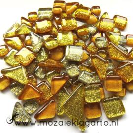 Glas Puzzelstukjes Glitter  Mix 100 gram Goud 875