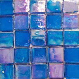 Glastegels 15 mm  Blauw Transparant per 25 tegels