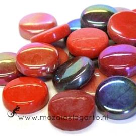 Glastegel Rond 20 mm per 100 gram Rode Mix 009
