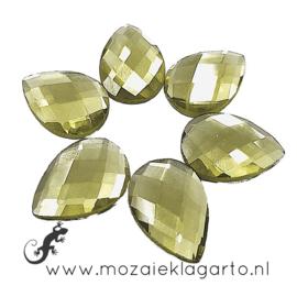 Glas facet geslepen bloemblaadje 13x18 mm per 6 Geel 809