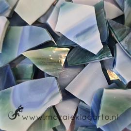Gekleurde glasscherven Semi Translucent Groen - Blauw - Wit CAG103st