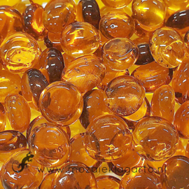 Glas Nugget Mini 9-13 mm Transparant 50 gram Amber 4362