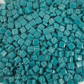 Mozaïek tegeltjes glas 8 x 8 mm Opaal per 50 gram Donker Zeegroen 016