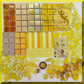 Mozaiekglas mix Geel in cadeautasje 25-4